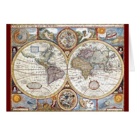 17th Century Dual Hemisphere World Map Greeting Card