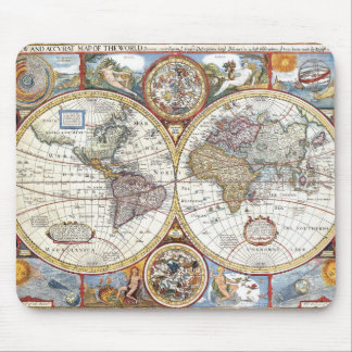 17th Century Dual Hemisphere World Map Mouse Pad