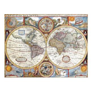 17th Century Dual Hemisphere World Map Postcard