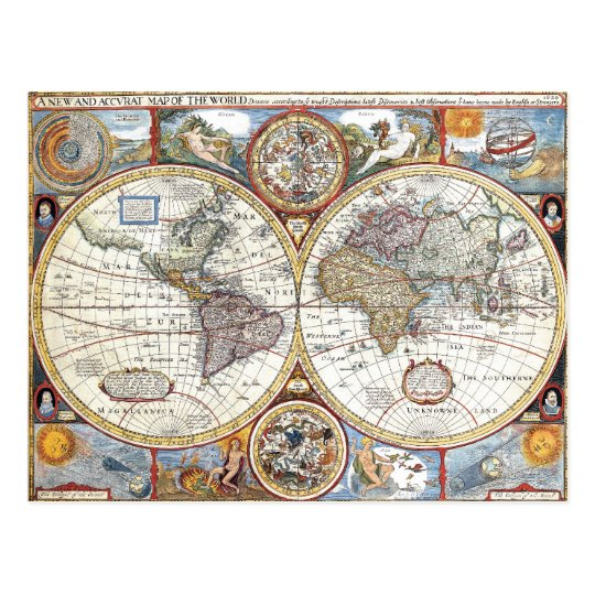 17th Century Dual Hemisphere World Map Postcard