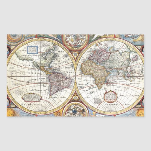 17th Century Dual Hemisphere World Map Stickers