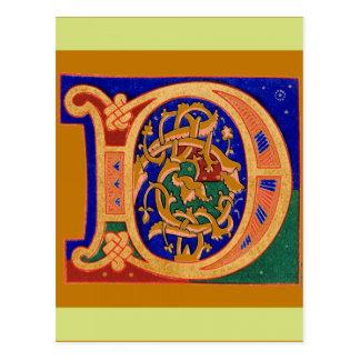 17th Century Letter D Postcard