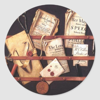 17th century mail classic round sticker