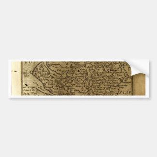 17th Century map of Cheshire Bumper Sticker