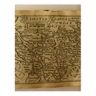 17th Century map of Cheshire Postcard