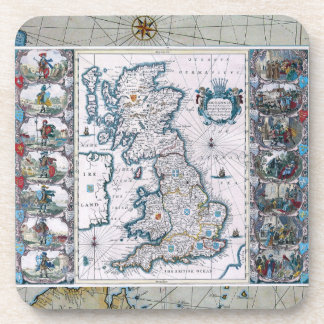 17th Century Map Of England Drink Coaster