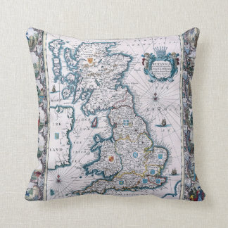 17th Century  Map Of England Throw Pillows