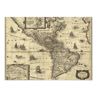17th-century map of the Americas Card
