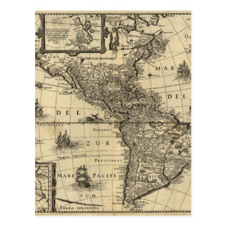 17th-century map of the Americas Postcard