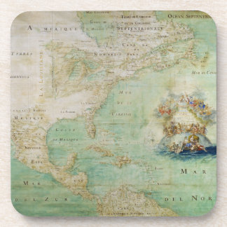 17th Century Map the Americas By Claude Bernou Beverage Coaster
