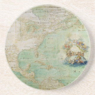 17th Century Map the Americas By Claude Bernou Drink Coaster