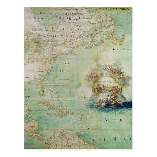 17th Century Map the Americas By Claude Bernou Postcard