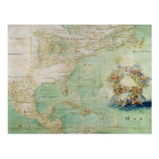 17th Century Map the Americas By Claude Bernou Postcard