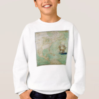 17th Century Map the Americas By Claude Bernou Sweatshirt