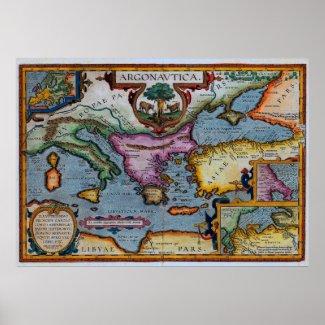 17th Century Mediterranean Map Print