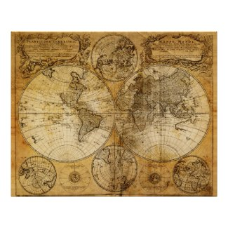 17th century Old World Map poster print