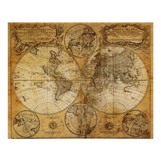 17th century old world map poster print zazzle 17th century old world map poster print gumiabroncs Images