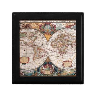 17th Century original World Map1600s Keepsake Box