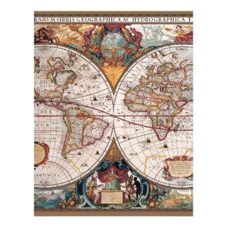 17th Century original World Map1600s Letterhead