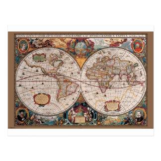 17th Century original World Map1600s Postcard