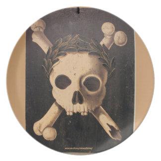 17th Century Skull and Crossbones Melamine Plate