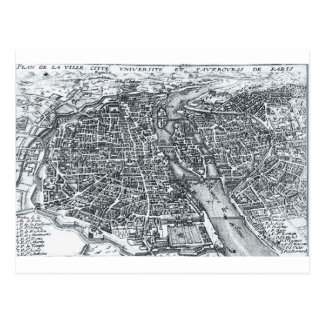 17th Century Street Map of Paris, France Postcard