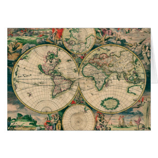 17th Century World Map Greeting Card