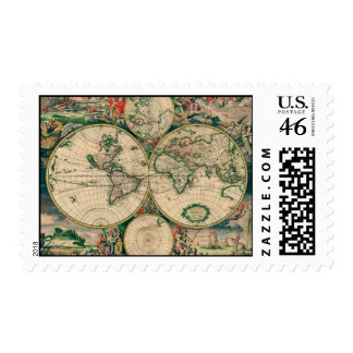 17th Century World Map Postage Stamp