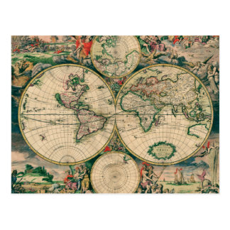 17th Century World Map Postcard
