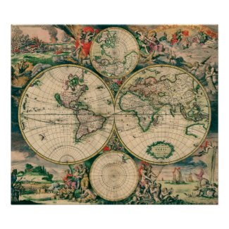 17th Century World Map print