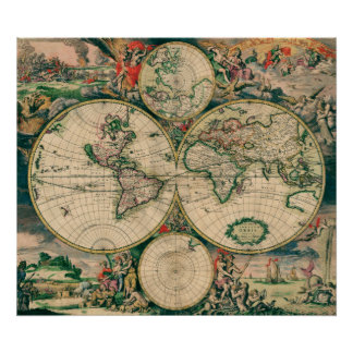 17th Century World Map - Poster