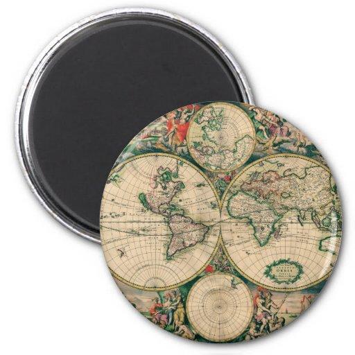 17th Century World Map Refrigerator Magnets