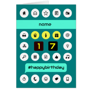 17th hashtag computing birthday add name card