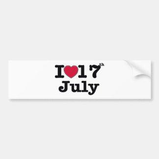 17th july my day birthday car bumper sticker