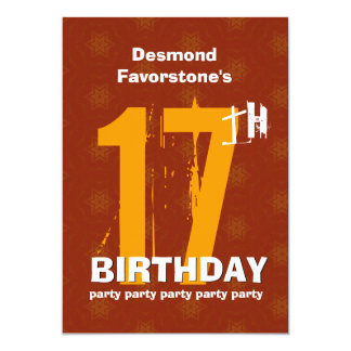 "17th Modern Weathered Grunge Birthday Party 5"" X 7"" Invitation Card"