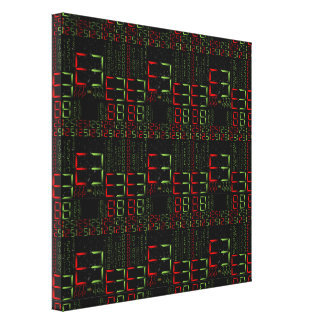 17th Pattern; Digital Numbers - Matrix Style Canvas Print