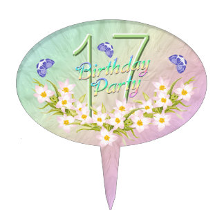 17th Rainbow and Butterflies Birthday Party Cake Topper