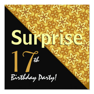 17th Surprise Birthday Black and Gold Diagonal Card