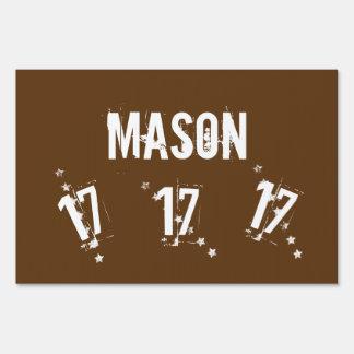 17th Teen Birthday Grunge Letters Stars C17Z Yard Sign
