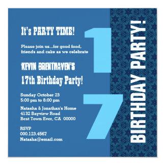 17th TEEN Birthday Modern Navy Blue Stars T7D Card