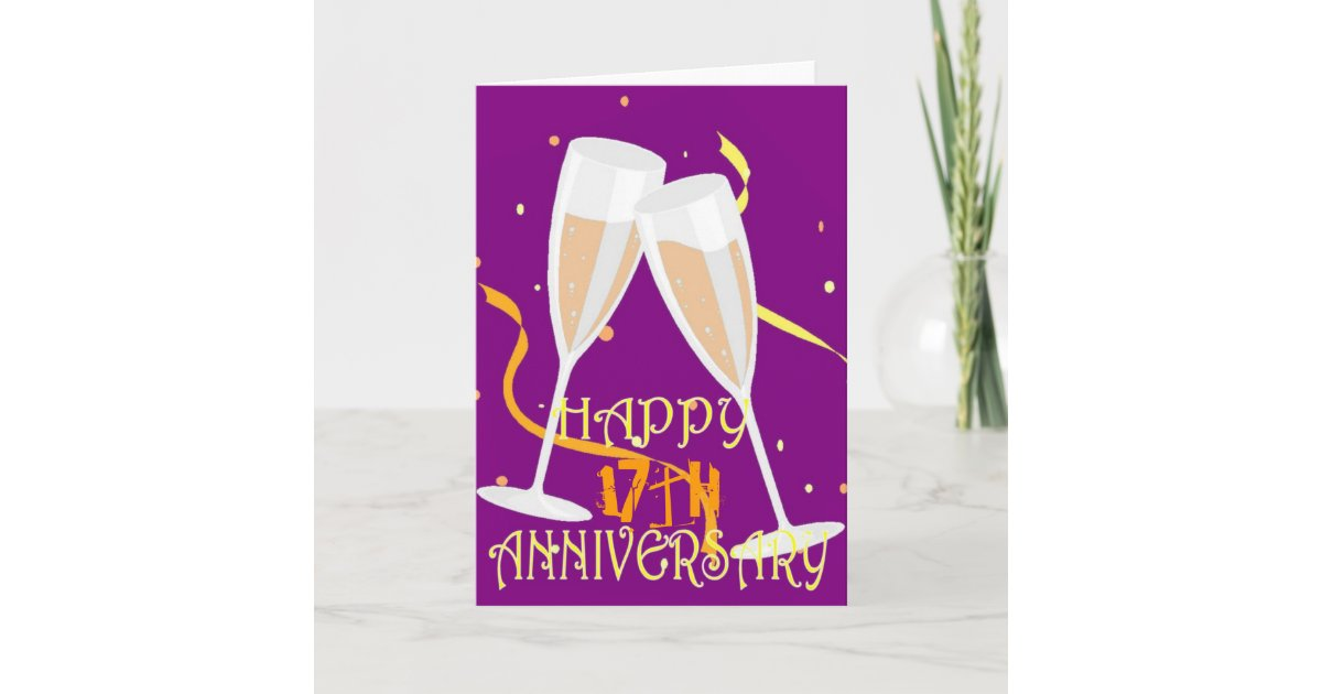 Gifts For 17th Wedding Anniversary: 17th Wedding Anniversary Champagne Celebration Card