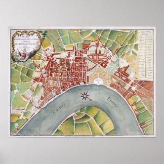 1800 plan de la ciudad de Burdeos, Francia Póster