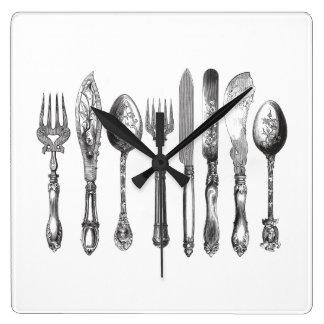 1800s blancos del cuchillo de la cuchara de la bif reloj cuadrado