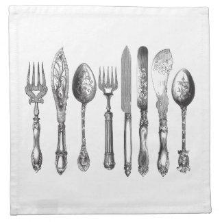 1800s blancos del cuchillo de la cuchara de la bif servilletas de papel
