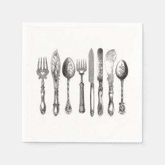1800s blancos del cuchillo de la cuchara de la servilletas de papel