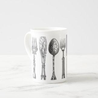1800s blancos del cuchillo de la cuchara de la taza de porcelana