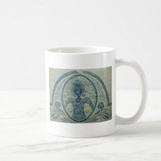 1800s Blue Lady American Grave Rubbing Design Coffee Mug
