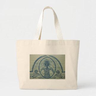 1800s Blue Lady American Grave Rubbing Design Large Tote Bag