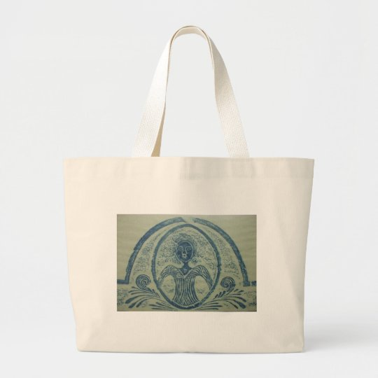 1800s Blue Lady American Grave Rubbing Design Large Tote Bag