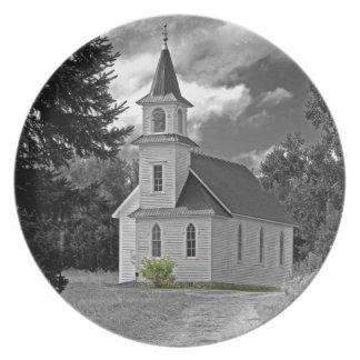 1800s BW de la iglesia presbiteriana de la orilla Platos